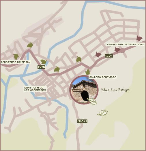 Mapa para llegar a Más Les Feixes